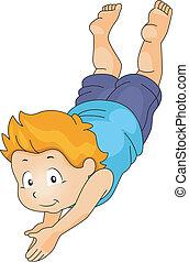 Kid Boy Diving Underwater