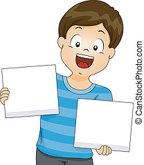 Kid Boy holding Blank Boards