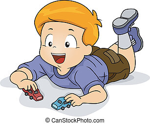 Kid Boy Playing Toy Car