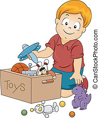 Kid Boy Storing Toys - Illustration of Kid Boy Storing Toys