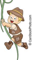 Kid Boy Swinging in Vine - Illustration of Kid Boy Swinging...