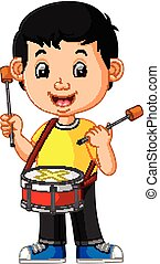 Kid Playing with a Drum