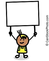 illustration of kid with banner