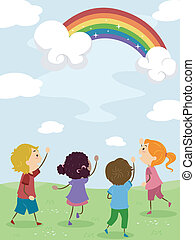 Kids Admiring a Rainbow - Illustration of Kids Admiring a...