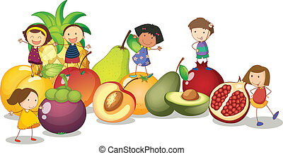 kids and fruits - illustration of kids and fruits on a white...