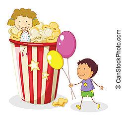 kids and popcorn