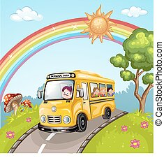 Illustration of kids and school bus