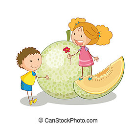 kids and vegetable fruit