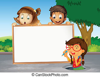 kids and white board - illustration of kids and white board...