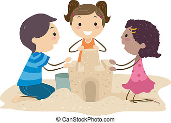 Sand Castle - Illustration of Kids Building a Sand Castle