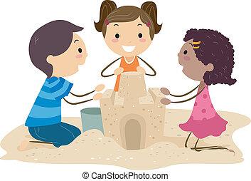 Sand Castle - Illustration of Kids Building a Sand Castle