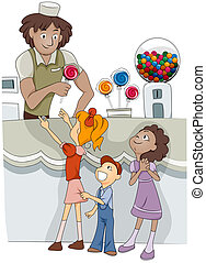 Candy Shop - Illustration of Kids Buying Candy from a Candy...
