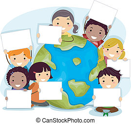 Earth Day - Illustration of Kids Celebrating Earth Day