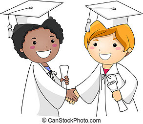 Kids Congratulating Each Other - Illustration of Kids...