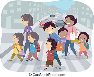 Illustration of Kids Crossing the Street Together with Their Parents