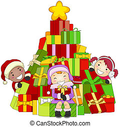 Children christmas gift illustrations and clipart 11084 children christmas gifts illustration of kids gathered around a negle Gallery