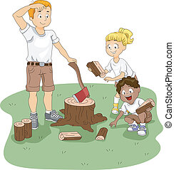 Firewood - Illustration of Kids Gathering Firewood