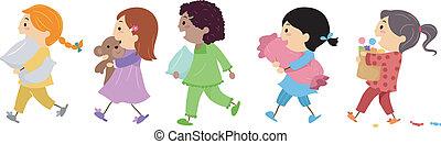 Slumber Party - Illustration of Kids Going to a Slumber ...