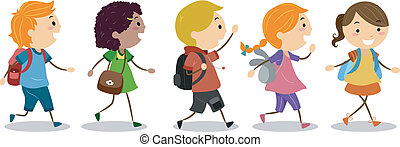 Kids Going to School - Illustration of Kids Going to School