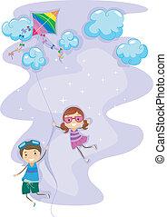 Kids Hanging Unto a Kite - Illustration of Kids Hanging Unto...