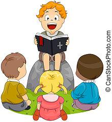 Bible Study - Illustration of Kids Having a Bible Study
