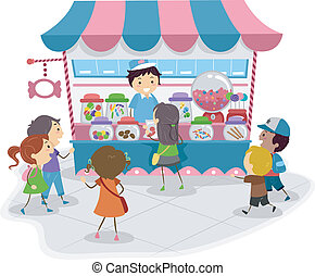 Candy Store - Illustration of Kids Heading to a Candy Store