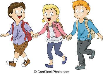 Kids Holding Hands - Illustration of Kids Holding Hands...