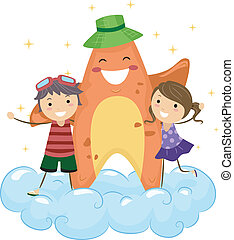 Starfish Mascot - Illustration of Kids Hugging a Starfish ...