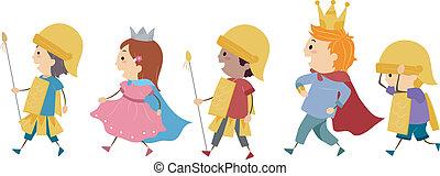 Royal Parade - Illustration of Kids Imitating a Royal Parade