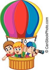 kids in a balloon