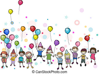 Birthday Party - Illustration of Kids in a Birthday Party