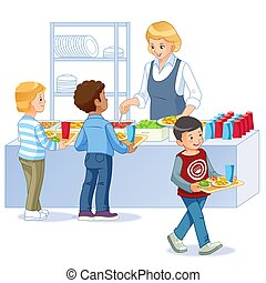 Illustration of Kids in a Canteen