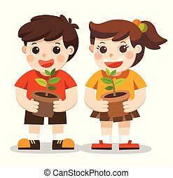 Illustration of Kids is planting small plant in garden.Isolated vector