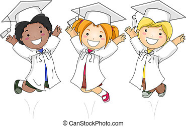 Kids Jumping Happily - Illustration of Kids Jumping Happily