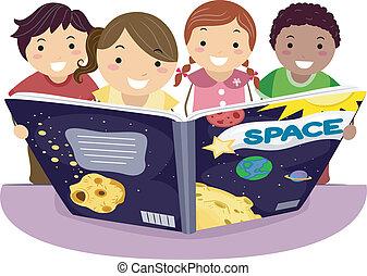 Kids Learning Astronomy - Illustration of Kids Learning...