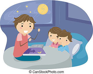 Bedtime Story - Illustration of Kids Listening to a Bedtime ...