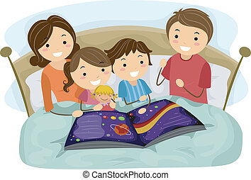 Bedtime Story - Illustration of Kids Listening to a Bedtime...