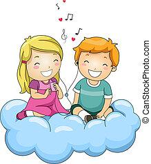 Shared Headphones - Illustration of Kids Listening to Music...