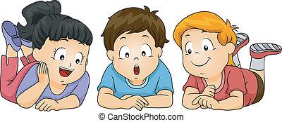 Kids Looking Down - Illustration of Kids Looking Down
