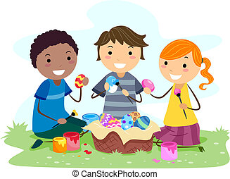 Kids Making Easter Eggs