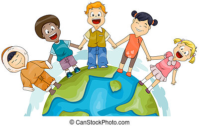 Illustration of Kids of Different Races Joining Hands to Represent Diversity