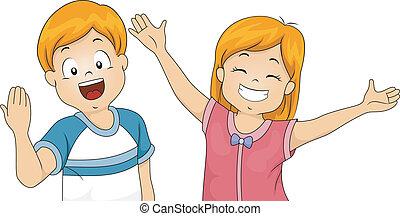 Illustration of Kids Offering a Big Welcome Hug