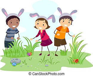 Easter Egg Hunt - Illustration of Kids on an Easter Egg Hunt
