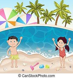 Illustration of kids on sea beach