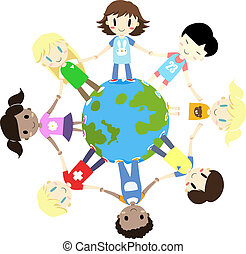 kids one world one family - illustration of kids one world...
