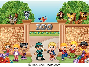Kids playing at the zoo with zookeeper and animal - ...