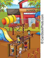 kids - illustration of kids playing game in a beautiful ...
