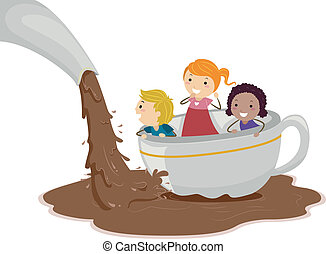 Chocolate Pond - Illustration of Kids Playing in a Chocolate...