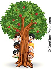 Kids playing in an apple tree