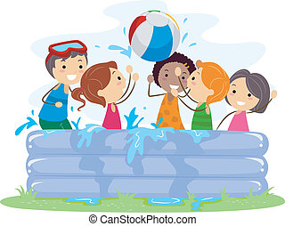 Inflatable Pool - Illustration of Kids Playing in an...